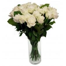 Buchet 21 trandafiri albi