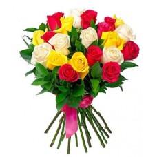 Buchet 25 trandafiri multicolori
