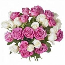 Buchet 31 trandafiri alb si roz
