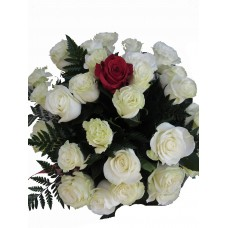 Buchet 28 trandafiri albi si 1 trandafir rosu