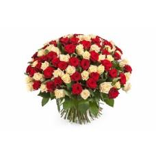Buchet 101 trandafiri crem si rosii