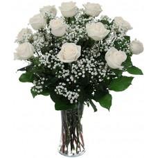 Buchet 13 trandafiri albi
