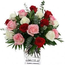 Buchet 17 trandafiri multicolori